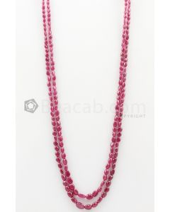 2 Lines - 4 x 4.70 mm to 6.60 x 9.60 mm Dark Pink Color Pink Sapphire Tumbled Gemstone Beads - 160.55 carats (PnSTuB1023)