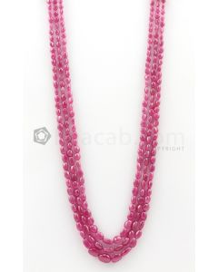 3 Lines - 4.50 x 4.60 mm to 7.80 x 10.50 mm Medium Pink Color Pink Sapphire Tumbled Gemstone Beads - 270.2 carats (PnSTuB1025)