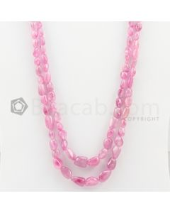 2 Lines - 6 x 8.30 mm to 10 x 14 mm Light Pink Color Pink Sapphire Tumbled Gemstone Beads - 320 carats (PnSTuB1029)