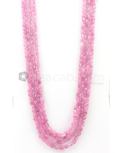 4 Lines - 4.50 x 6.20 mm to 6 x 7.70 mm Light Pink Color Pink Sapphire Tumbled Gemstone Beads - 434 carats (PnSTuB1030)