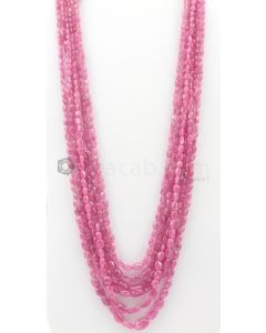 6 Lines - 3.50 x 4 mm to 9.50 x 13.50 mm Medium Pink Color Pink Sapphire Tumbled Gemstone Beads - 748.8 carats (PnSTuB1032)