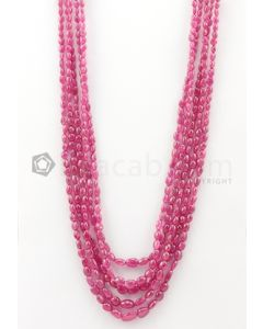 5 Lines - 4.30 x 5.30 mm to 7.30 x 10.50 mm Medium Pink Color Pink Sapphire Tumbled Gemstone Beads - 367.6 carats (PnSTuB1035)