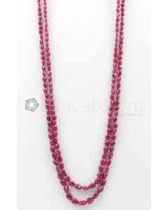 2 Lines - 4.50 x 5 mm to 7 x 9.30 mm Medium Pink Color Pink Sapphire Tumbled Gemstone Beads - 197.75 carats (PnSTuB1038)