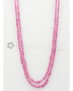 2 Lines - 3 x 5 mm to 6 x 9.50 mm Light Pink Color Pink Sapphire Tumbled Gemstone Beads - 160.45 carats (PnSTuB1041)