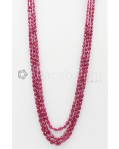 3 Lines - 3.50 x 5.50 mm to 5 x 10 mm Dark Pink Color Pink Sapphire Tumbled Gemstone Beads - 268.2 carats (PnSTuB1042)