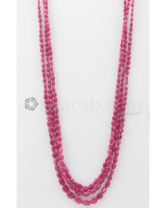 3 Lines - 4 x 4.50 mm to 7 x 10.50 mm Dark Pink Color Pink Sapphire Tumbled Gemstone Beads - 285.75 carats (PnSTuB1044)