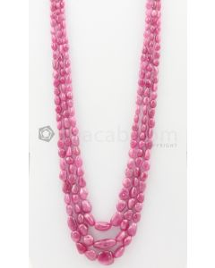 3 Lines - 5 x 6.50 mm to 14 x 16 mm Medium Pink Color Pink Sapphire Tumbled Gemstone Beads - 662.8 carats (PnSTuB1045)