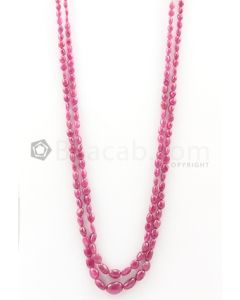 2 Lines - 4.50 x 5.50 mm to 9 x 13 mm Dark Pink Color Pink Sapphire Tumbled Gemstone Beads - 200.75 carats (PnSTuB1050)