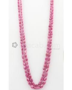 2 Lines - 6.30 x 7.30 mm to 12.30 x 18.90 mm Medium Pink Color Pink Sapphire Tumbled Gemstone Beads - 406.75 carats (PnSTuB1053)