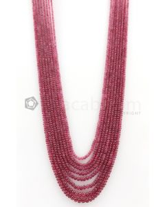 8 Lines - 2.30 to 5.60 mm Dark Pink Color Pink Sapphire Smooth Gemstone Beads - 342.75 carats (PnSPB1003)