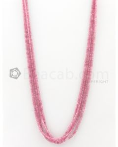 4 Lines - 2.30 to 3 mm Light Pink Color Pink Sapphire Smooth Gemstone Beads - 114.3 carats (PnSPB1008)