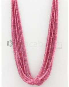 9 Lines - 2.50 to 5.50 mm Light Pink Color Pink Sapphire Smooth Gemstone Beads - 419.8 carats (PnSPB1012)