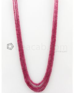 3 Lines - 2.90 to 5 mm Dark Pink Color Pink Sapphire Smooth Gemstone Beads - 144.7 carats (PnSPB1016)
