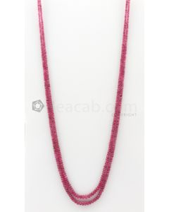 2 Lines - 2.50 to 5.30 mm Dark Pink Color Pink Sapphire Smooth Gemstone Beads - 143.5 carats (PnSPB1017)