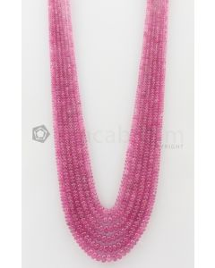 6 Lines - 3 to 7 mm Medium Pink Color Pink Sapphire Smooth Gemstone Beads - 559.45 carats (PnSPB1018)