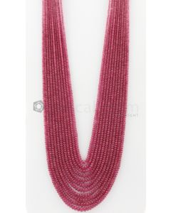 11 Lines - 2.40 to 4 Dark Pink Color Pink Sapphire Smooth Gemstone Beads - 670 carats (PnSPB1020)
