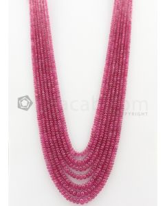 7 Lines - 2.70 to 6.20 mm Medium Pink Color Pink Sapphire Smooth Gemstone Beads - 417.9 carats (PnSPB1022)