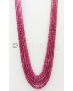 5 Lines - 3 to 6.80 mm Dark Pink Color Pink Sapphire Smooth Gemstone Beads - 485.3 carats (PnSPB1023)