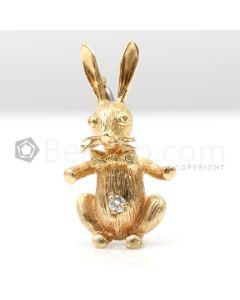 18kt Yellow Gold Bunny Pin and Pendant - 7.2 grams - EST1203