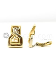 14kt Yellow Gold and White Gold Lady's Geometric Earrings, Pair - 17.2 grams - EST1207