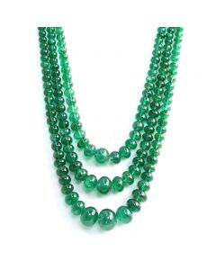 3 Lines - Medium Green Emerald Smooth Beads - 382 cts - 4.2 to 13.8 mm (EMSB1048)
