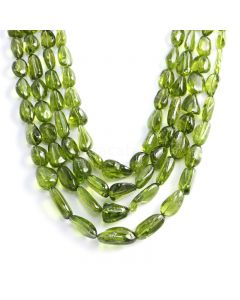 4 Lines - Medium Green Peridot Tumbled Beads - 1256.00 cts - 8.9 x 6.6 mm to 22 x 13.6 mm (PDTUB1013)