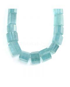 1 Line - Medium Blue Aquamarine Hexagonal Beads - 2152.60 cts - 25 x 19.2 mm to 23 x 30 mm (AQHEXB1005)