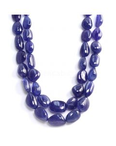 2 Lines - Medium Violet Tanzanite Tumbled Beads - 1165.60 cts - 12.9 x 11.7 mm to 21 x 16.1 mm (TZTUB1083)
