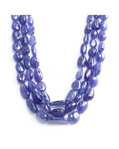 3 Lines - Medium Violet Tanzanite Tumbled Beads - 1251.85 cts - 11.9 x 12.2 mm to 26 x 16.3 mm (TZTUB1086)