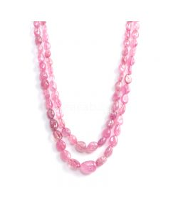 2 Lines - Medium Pink Pink Sapphire Tumbled Beads - 350.60 cts - 6 x 4.8 mm to 14.3 x 10.4 mm (PNSTUB1056)