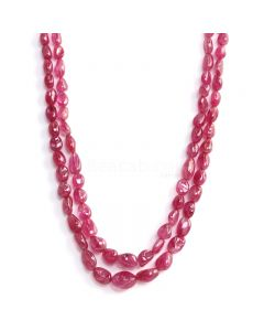 2 Lines - Medium Pink Pink Sapphire Tumbled Beads - 275.05 cts - 5.3 x 4.3 mm to 11.7 x 9.5 mm (PNSTUB1055)