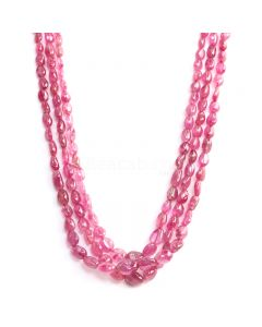 3 Lines - Medium Pink Pink Sapphire Tumbled Beads - 426.05 cts - 5.5 x 4.1 mm to 12.2 x 8.2 mm (PNSTUB1054)