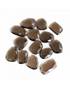 14 Pcs - Dark Brown Smoky Quartz Rose Cut - 264.53 ct. - 23 x 17 x 6 mm to 31 x 18 x 5 mm (SQRC1012)