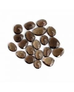 20 Pcs - Dark Brown Smoky Quartz Rose Cut - 102.81 ct. - 13 x 10 x 4 mm to 17 x 15 x 5 mm (SQRC1010)