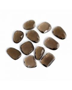 11 Pcs - Dark Brown Smoky Quartz Rose Cut - 161.61 ct. - 22 x 16 x 5 mm to 25 x 18 x 5 mm (SQRC1009)