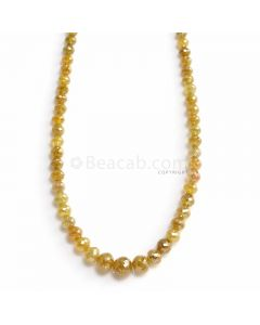 1 Line - Dark Yellow Diamond Faceted Beads - 37.19 ct. - 2.6 to 5.7 mm (YDIA1063)