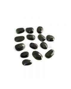 14 Pcs - 48.74 ct. - Green Tourmaline Rose Cut -11.3 x 9.7 x 2.9 mm to 17.5 x 11.1 x 4 mm (TRC1079)