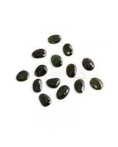 14 Pcs - 37.69 ct. - Green Tourmaline Rose Cut -11.9 x 8.7 x  2.7 mm to 14 x 9.3 x 3.3 mm (TRC1080)