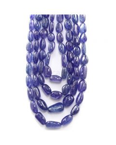4 Lines - 1283.35 ct. - Violet Tanzanite Tumbled Beads - 10 x 8 mm to 20 x 13.5 mm - 17 to 22 in. (TZTUB1089)