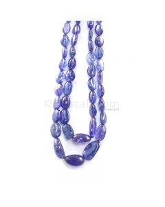 2 Lines - 411.70 ct. - Violet Tanzanite Tumbled Beads - 7.5 x 7.7 mm to 18.5 x 15.5 mm - 16 to 17 in. (TZTUB1097)