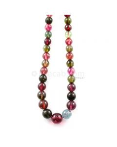 1 Line - 193.31 ct. - Medium Tones Multi-Tourmaline Plain Beads - 5 to 10.5 mm - 18 in. (MTOUR1034)