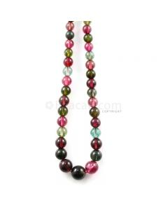 1 Line - 213.30 ct. - Medium Tones Multi-Tourmaline Plain Beads - 5.10 to 11 mm - 18 in. (MTOUR1035)