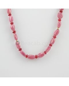 9.50 to 12.20 mm - 1 Line - Pink Sapphire Tumbled Beads Necklace - 157.00 carats (CSNKL1115)
