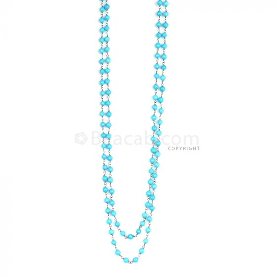 1 Line - Blue Turquoise Round Beads & Gold Necklace - 69 30