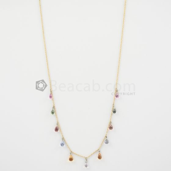 a1ede25676976 4.50 to 5 mm - Dark Tones Multi-Sapphire Drop Necklace - 13.54 carats  (GDNKL1002)