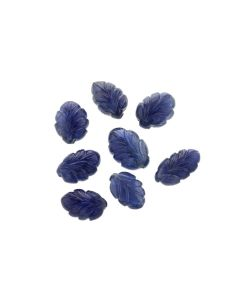 17.8 x 9.7 mm- Medium Blue, Unheated Burma Sapphire Leaf Carvings- 8 Pieces- 94.53 carats (SCAR1087)