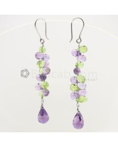 6 to 11 mm - Amethyst and Peridot Drop Earrings - 32.14 carats (CSEarr1037)