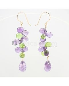 8 to 12 mm - Amethyst and Peridot Drop Earrings - 35.51 carats (CSEarr1038)