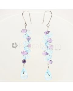 7 to 12 mm - Blue Topaz Drop Earrings - 42.33 carats (CSEarr1022)