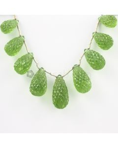 16 to 25 mm - Dark Green Peridot Carved Drops - 177.00 carats (PDr1036)-OOS